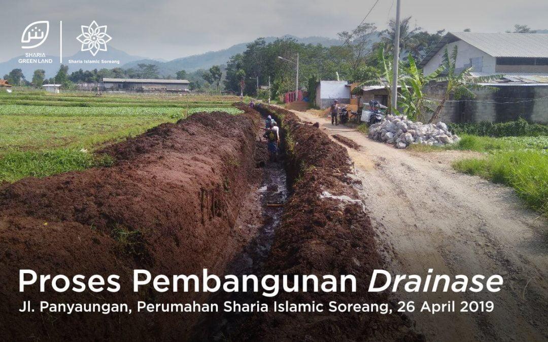 Proses pembangunan drainase Sharia Islamic Soreang