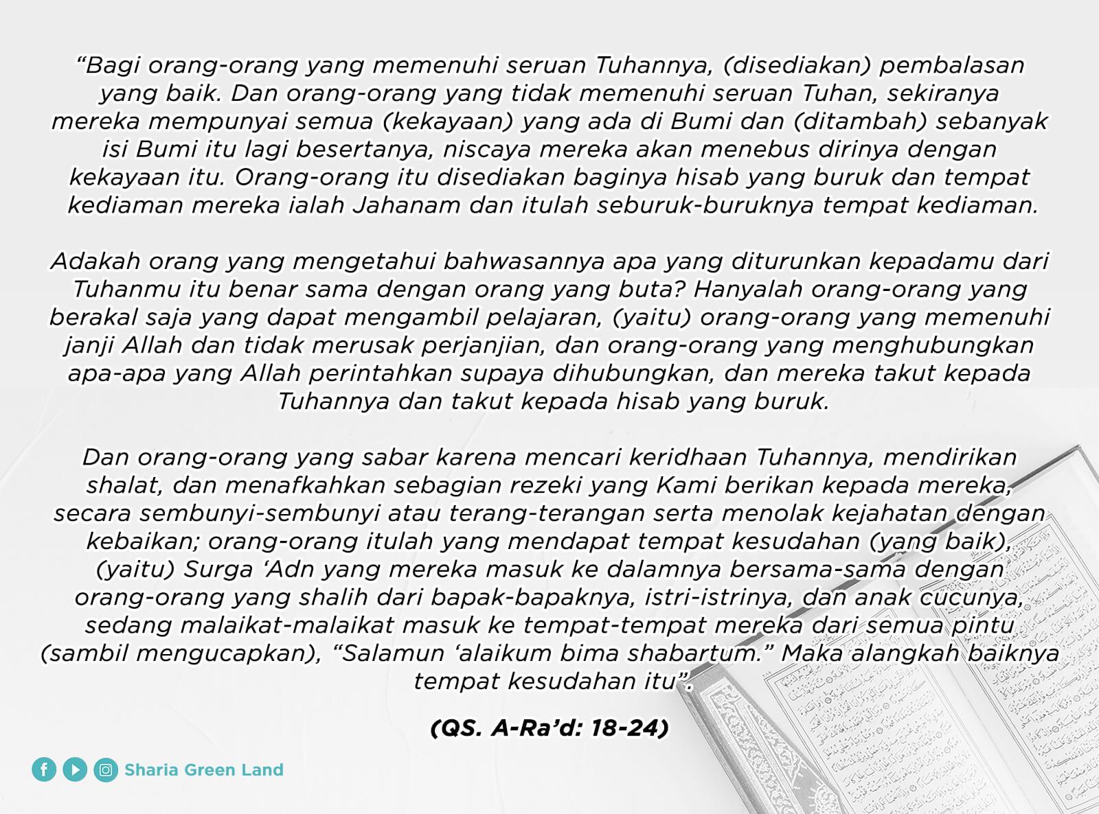 ayat Masuk Surga Bersama Keluarga Ar-Rad 18-24